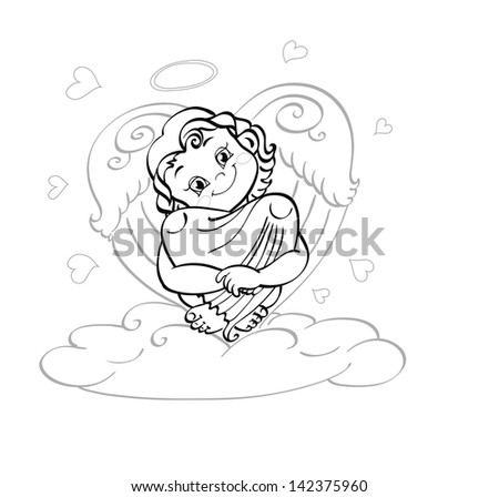 Cute little angel sitting on a cloud. He had a kind smile and cheerful eyes. Angel hugging her knees. Wings and knees are in the shape of heart - stock vector