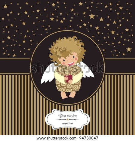 cute little angel with heart. - stock vector