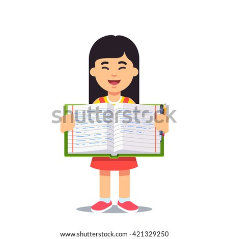 Cute little asian girl holding an open work book with handwriting. Flat style color modern vector illustration. - stock vector