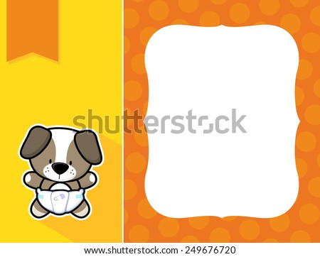 cute little baby dog with diaper, black and white outline like a sticker and blank space for your birth announcement text, picture or invitation with decorative frame - stock vector