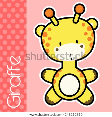 cute little baby giraffe and text on solid color background with black and white outline for easy isolation - stock vector