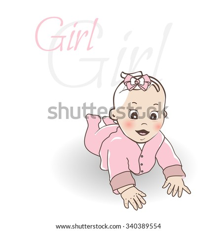 Cute little baby girl.  Crawling baby girl in the pink overall. - stock vector