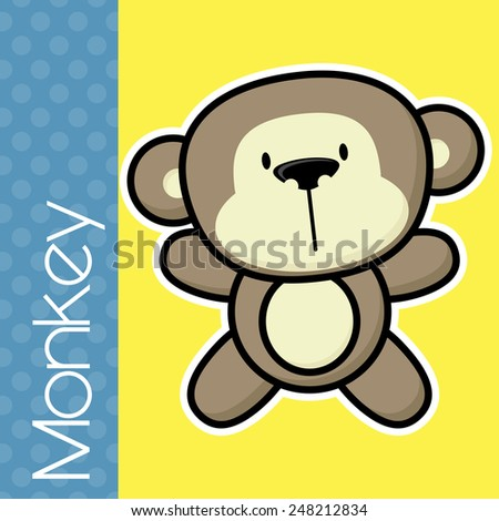 cute little baby monkey and text on solid color background with black and white outline for easy isolation - stock vector