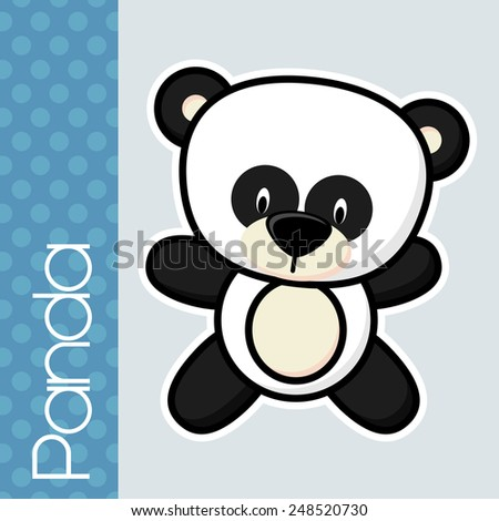 cute little baby panda and text on solid color background with black and white outline for easy isolation - stock vector