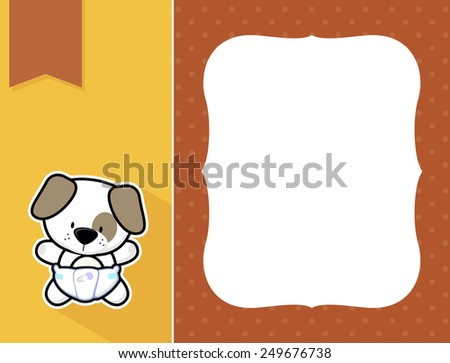 cute little baby puppy with diaper, black and white outline like a sticker and blank space for your birth announcement text, picture or invitation with decorative frame - stock vector