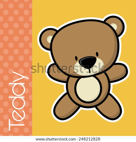cute little baby teddy bear and text on solid color background with black and white outline for easy isolation - stock vector