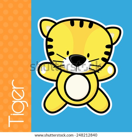 cute little baby tiger and text on solid color background with black and white outline for easy isolation - stock vector