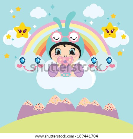 Cute little baby with pacifier in the mouth sitting on the cloud. Cute clouds, stars and rainbow on the background. Vector illustration.