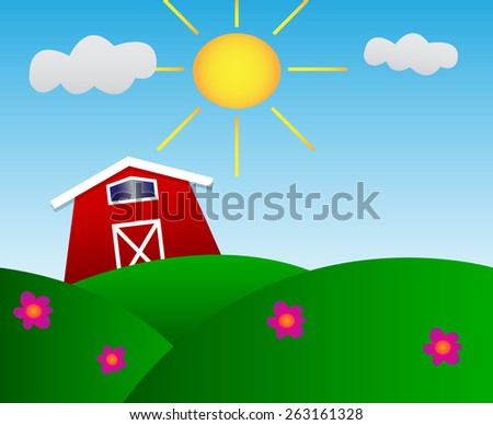 Cute little barn on meadow with sun - stock vector