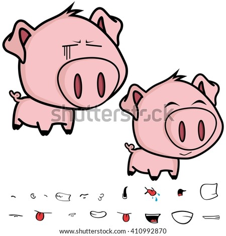 cute little big headed pig cartoon set in vector format very easy to edit - stock vector