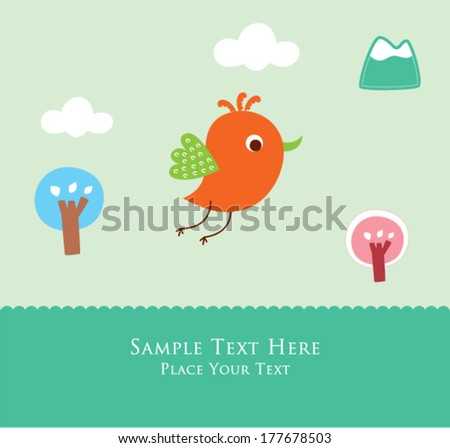 cute little bird in spring greeting card
