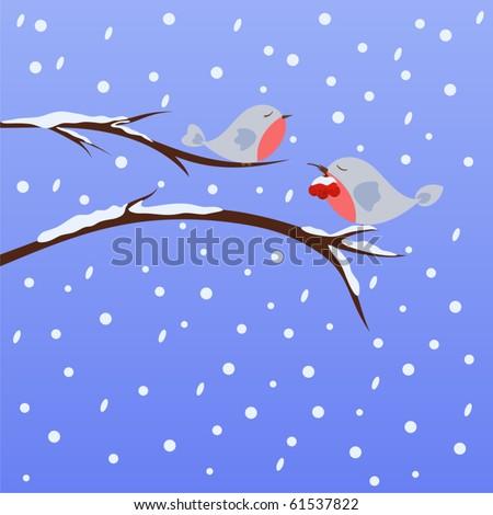 Cute little birds on wintry landscape - stock vector
