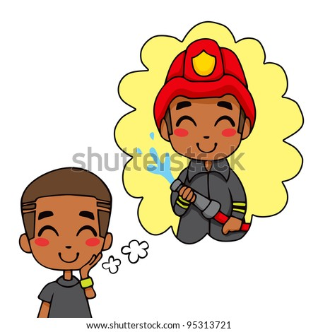 Cute little black boy dreaming being a fireman hero extinguishing fire - stock vector