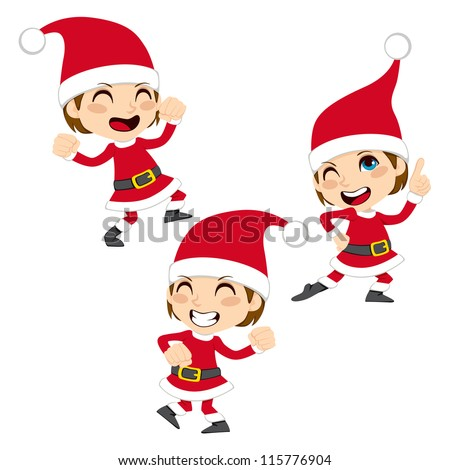 Cute little boy happy dancing Santa Claus Christmas dance - stock vector