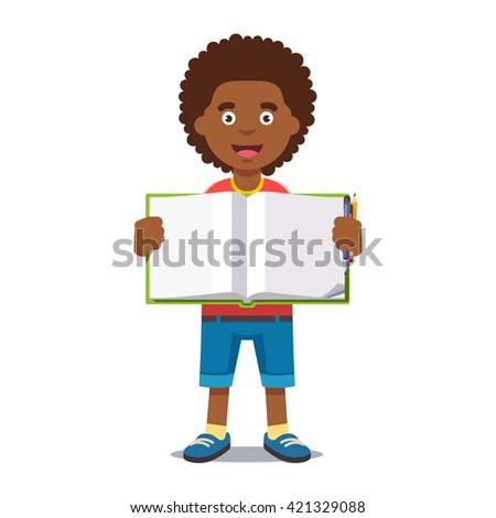 Cute little boy holding an open school book handwriting. Flat style color modern vector illustration. - stock vector
