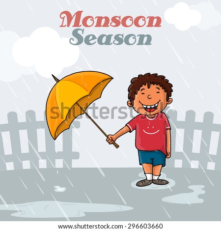 Cute little boy holding an open umbrella and standing in rains on grey background for Monsoon Season concept. - stock vector