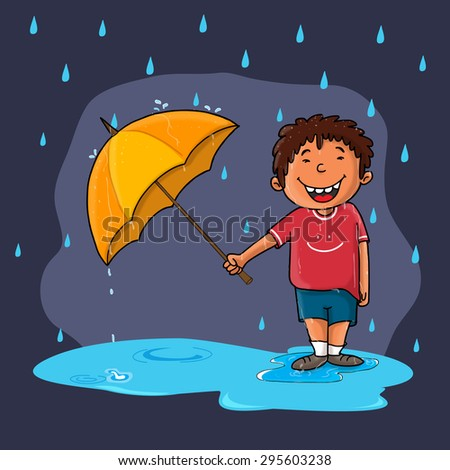 Cute little boy holding an open umbrella and standing in rains on purple background, Creative illustration for Monsoon Season. - stock vector