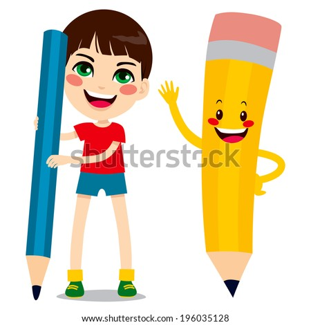 Cute little boy holding big pencil and funny pencil character friend - stock vector