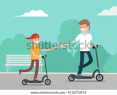 Cute little boy on scooter have fun with father in the park in summer sunny day. Young father teaching son to ride scooter. Parents teaching  children concept. Vector flat illustration. Eps 8 - stock vector