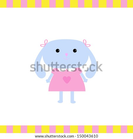 Cute little bunny girl. Vector illustration. Card - stock vector