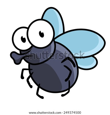 Cute little cartoon fly insect in blue with big googly eyes and a protruding proboscis