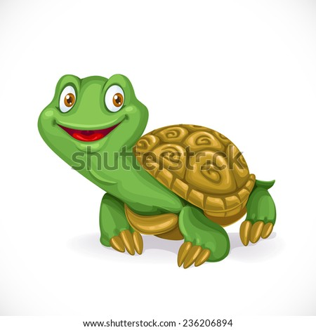 Cute little cartoon turtle isolated on white background - stock vector