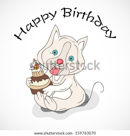 Cute little cat holding birthday cake on abstract grey background, Happy Birthday concept. - stock vector
