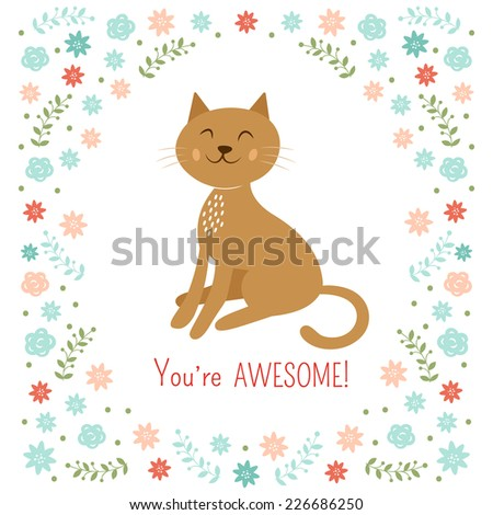 Cute little cat vector illustration - stock vector