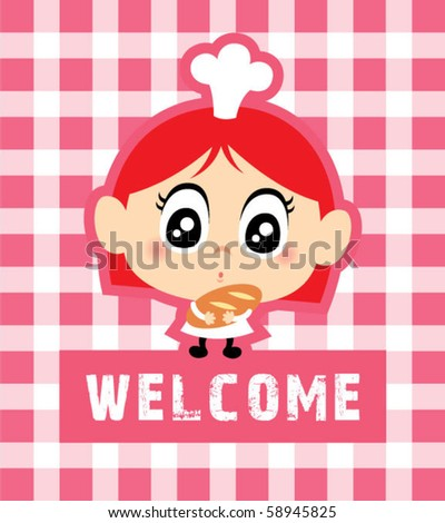 cute little chef girl welcome chef - stock vector