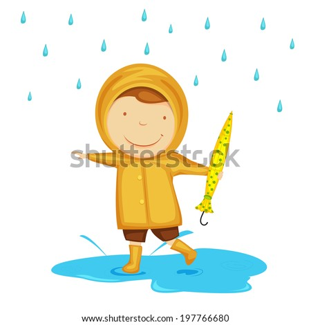 Cute little child dancing in rains, holding umbrella in his hand on abstract background.  - stock vector