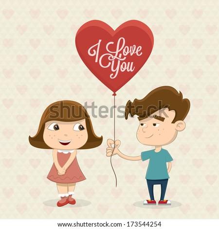 Cute little couple with heart balloon - stock vector
