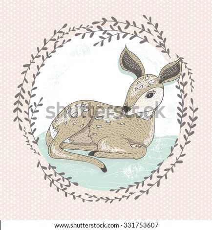 Cute little deer illustration.