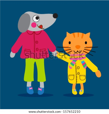 Cute little dog and a cat with nice clothing - stock vector