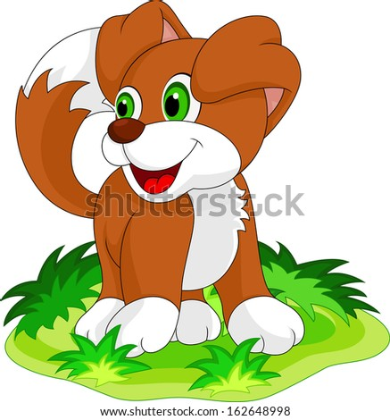 Cute little dog is laughing - stock vector