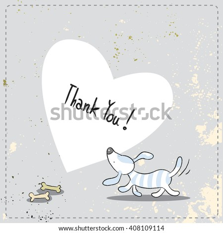 Cute little dog, puppy thank you card. Doodle style, sketchy vector illustration.  - stock vector