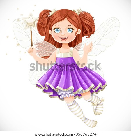 Cute little fairy girl in violet dress with a Magic wand isolated on a white background