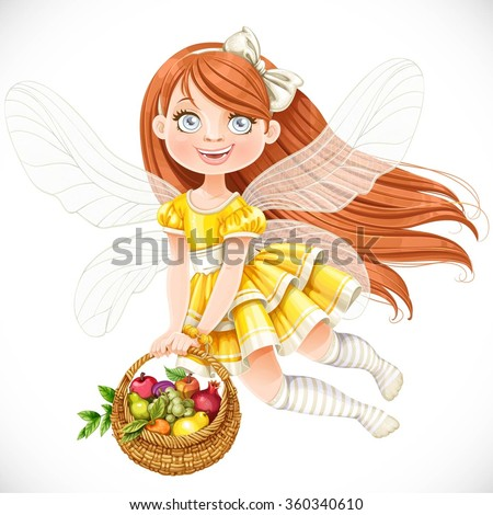 Cute little fairy girl in yellow dress with a round wicker basket filled with fruits isolated on a white background