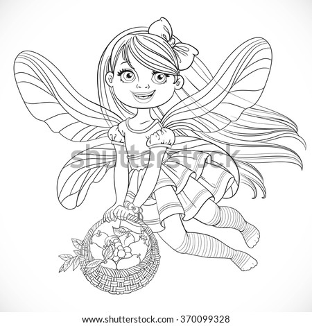 Cute little fairy girl with a round wicker basket filled fruits outlined for coloring isolated on a white background - stock vector