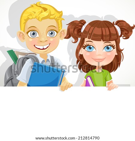 Cute little girl and boy with textbook hold big white banner - stock vector