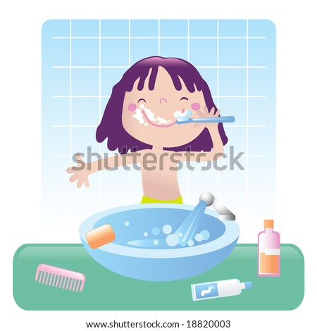 cute little girl brushes her teeth in bathroom, vector illustration. Educational series- see more in my portfolio