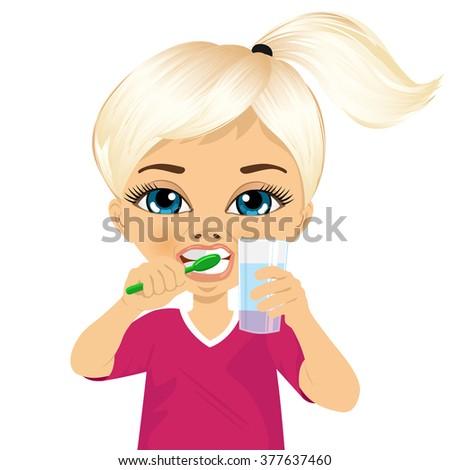 Cute little girl brushing teeth - stock vector