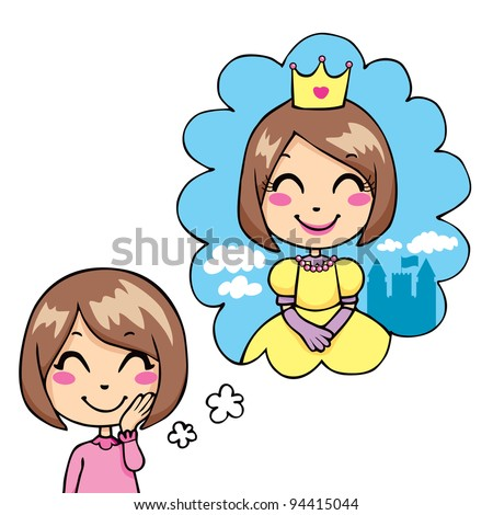 Cute little girl cheerful dreaming being a princess in royal dress and gold crown - stock vector