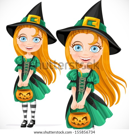 Cute little girl dressed as a witch with pumpkin for candy - stock vector