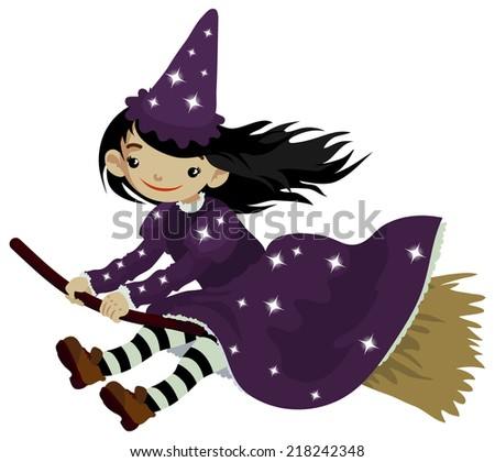Cute little girl dressed like a witch for costume party or Halloween. - stock vector