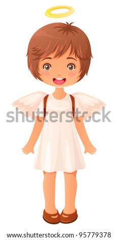 cute little girl dressed like an angel singing - stock vector