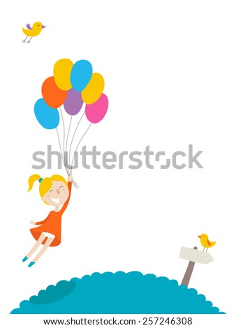 Cute little girl flies with colorful balloons, flat illustration, vector character, isolated on white background. - stock vector