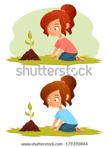 cute little girl growing a plant - green concept illustration for kids - stock vector