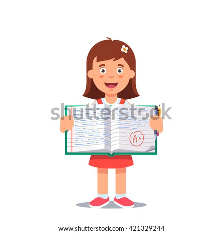Cute little girl holding an open school work book with handwriting. Flat style color modern vector illustration. - stock vector