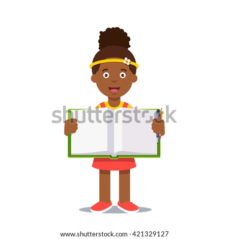 Cute little girl holding an open work book with handwriting. Flat style color modern vector illustration.