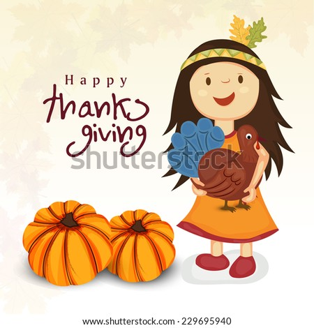 Cute little girl holding turkey bird in her hand with pumpkins for Thanksgiving Day celebrations.